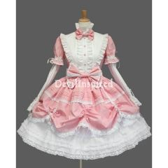 pink And white removable sleeves classic lolita dress