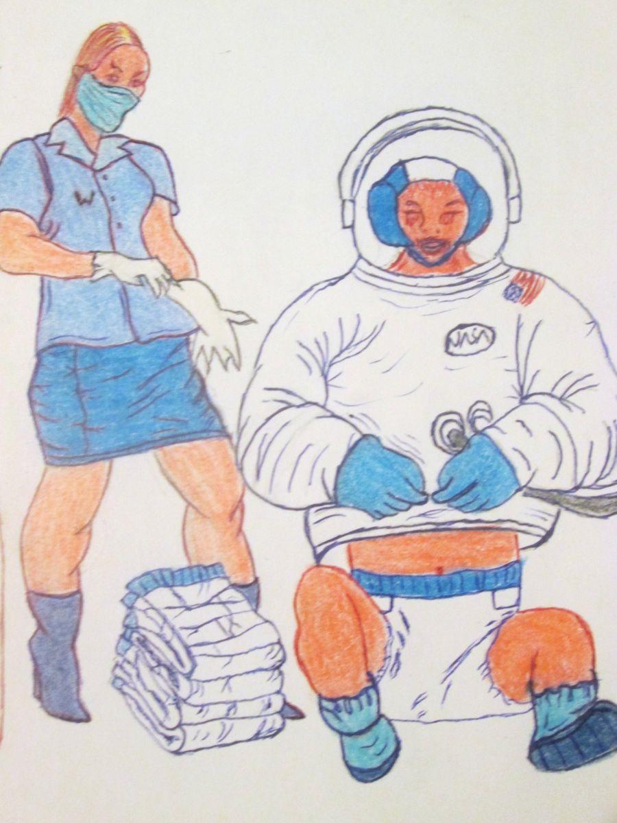woman astronaut in diaper - HD900×1200