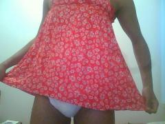 Sissy Baby Curtsy on Flowered Dress