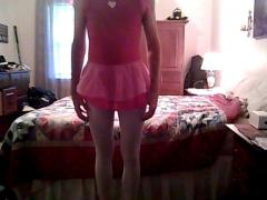 Pink tutu and leotard with white tights