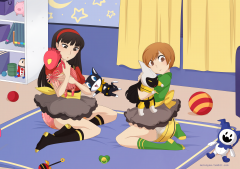 Chie and Yukiko wet