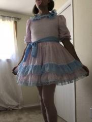 Pink Dress with Blue trim