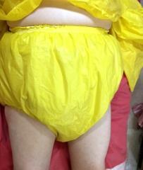 Yellow rubber pantes